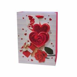 ハンドルが付いているロマンチックで赤い花の結婚式のバレンタインデーのギフトの包装紙袋