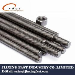 Plaqué zinc(Galv)/noir/HDG/revêtement Telflon/acier inoxydable A2/4 (SS304/316)/ DIN975/DIN976/ UN193 B7/B8/B8M/B16 de la tige filetée du goujon/Bar/vis avec écrou hexagonal un194 2H
