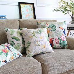 Draps en coton Yrf pastorale Fleur d'oiseaux colorés de style salle de séjour coussin décoratif
