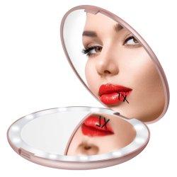 Espelho de maquiagem viagens LED, iluminado de 3,5 polegadas espelho compacto, ampliação de 10X, Portátil, frente e verso, Espelho Dobrável portátil de bolso, bolsa, Dom