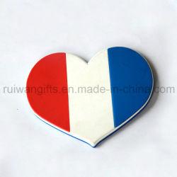La bandera en forma de corazón dosis de café de goma PVC blando para comprar souvenirs