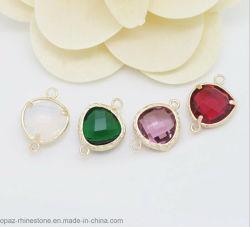 Venda por grosso de vidro do aro de ouro encantos de pedra jóias pendente Conjunto Diagnóstico pedras de vidro (Coração/13*17,5mm)