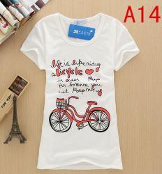 熱い販売細い適合の不足分の袖によって印刷される女性Tシャツ