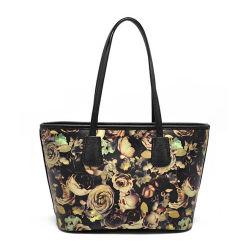 De nieuwe Bloemen die van de Aankomst de Echte Handtassen van de Zwerfsters van de Vrouwen van het Leer voor Verkoop afdrukken