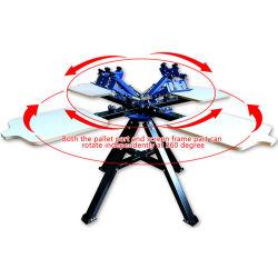 طابعة دوار الدوار الدوار بمحور ثنائي العجلة بأربعة ألوان تي شيرت آلة الطباعة اليدوية على الشاشة