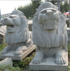 Wallまたは庭Decorationのための花こう岩Marble Stone Fountain Carving Lion Sculpture