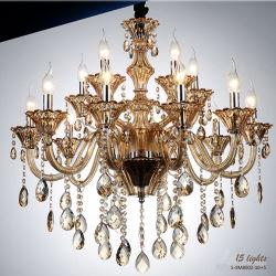 iluminação de cristal moderna da lâmpada do candelabro do ouro 15-Lights similar, 15 diâmetro do bulbo de W do máximo 40 de X E14 80 gotas do cristal do conhaque do Cm