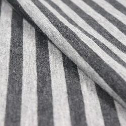 Algodão Pima Spandex Jersey, Stripe, Heather Gray