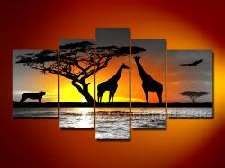 100% da África pintados à mão pinturas a óleo animal
