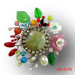 Xz-2170 Handmade Brooch Handmade Flower Brooches Hot 2014 Sale Jewelry Natural Stone Colorful Brooch New Made in China Spring