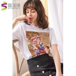 Оптовая торговля женщинами моды удобную одежду круглой горловины короткие втулки хлопок футболки
