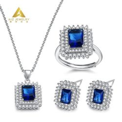 Groothandel Gold Manufacturer Custom Rectangle Shaped Silver Jewelry ketting Sets Met blauw korund