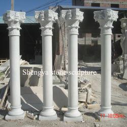 Белые мраморные скульптуры из камня колонки для дома (Си-C016)