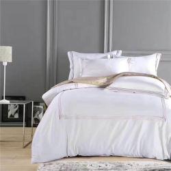 Branco puro Hotel Home Produtos Têxteis 100% Roupa de cama de algodão Set 6 PCS