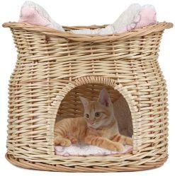 Handgemachtes 2 Reihe-Weidenkoje-Korb-Haustier-Hülse-Katze-Hundebett