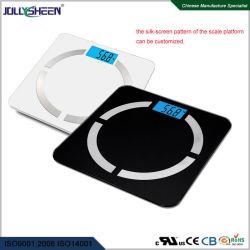 Heiße Verkäufe Bluetooth Schuppen-Körperfett-Schuppe mit hohe Plattform LCD-blauer Hintergrundbeleuchtung des ausgeglichenen Glas-R30 zeigt gefälliges für Cer, RoHS, FCC an