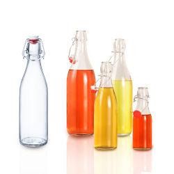 Commerce de gros 250ml 500ml 1000ml avec bouchon de bouteille de verre rondes chapeaux haut de rotation des bouteilles avec couvercles hermétiques pour l'huile, vinaigre, de boissons, spiritueux, bière, eau