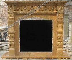 Estilo RU de chimenea de piedra caliza de color beige amarillo rodean la columna (QY-LS630)