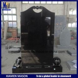 Baratos personalizados de estilo occidental directo vertical pulido negro Shanxi Memorial lápidas con talla única