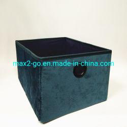 Almacenamiento en el hogar impresionante canasta básica de la caja plegable de terciopelo azul 2 cajón