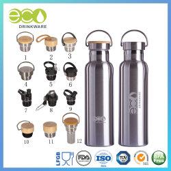 doppel-wandiger BambusEdelstahl-thermische Flaschen-Wasser-Flaschen-Vakuumkolben der kappen-600ml/20oz