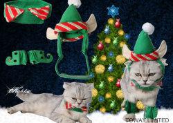 クリスマス犬の帽子およびスカーフペットビロードの身に着けているアクセサリ