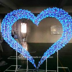 Decoração de casamento no exterior grande coração motivo de LED de luz de stop