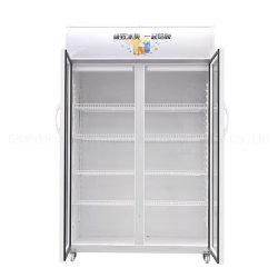 ISO Visiのクーラーのガラスドアの飲料のフリーザー冷却装置2ドア