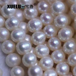 7-8mm AA Grad-billig von mittlerer Qualität runde reale natürliche kultivierte echte Frischwasserperlen für Halskette (XL180094)