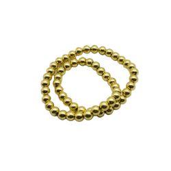 ネックレスブレスレットの製作用の電気めっき金丸型ブラックストーンビーズ