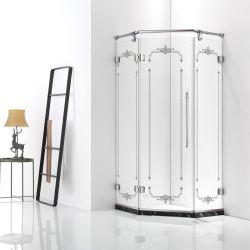 Forma de Losango Aço Inoxidável forte sem caixilho de banho de luxo com porta aberta da dobradiça