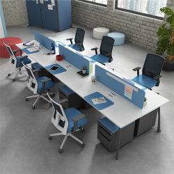 Movble 주춧대를 가진 상업적인 강철 프레임 사무용 가구 프로젝트 6 사람 다발 워크 스테이션 사무실 책상