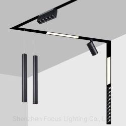 Trimless rebajada DC48V de montaje en superficie lineal de imán de la vía de iluminación LED Lámpara Luz focal Sistema Ferroviario Ttack magnético de la vía de techo LED Spotlight