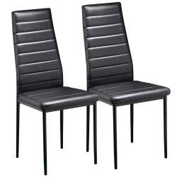 China Wholesale PU PVC imitación de cuero sintético acolchado tapizado de restaurante Modern Metales Acero barato europea de alta calidad en el interior de color negro Silla de Comedor silla