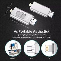 Pendrive USB Lecteur Flash pour iPhone 3 en 1 128 GO OTG 64 GO 32 GO 16GB 8Go 4 Go USB 3.0 Lecteur Flash USB Memory Stick™