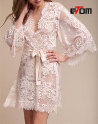 花嫁の花嫁のギフトセクシーな Kimono 様式のレースローブ