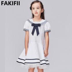 2022 تصميم العلامة التجارية أزياء بالجملة الأطفال الملابس الصيف زواج البحار فستان القطن الأبيض الأنيق