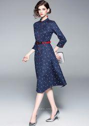 Form-Entwurfs-Kleid-lang - Sleeved a - Wort gedrucktes Denim-Kleid