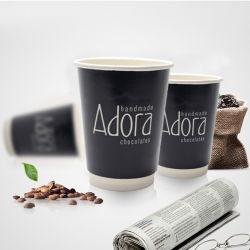 Tazza monouso con stampa personalizzata con logo, doppia parete, tazza di carta da 12oz Con coperchio per bevande calde