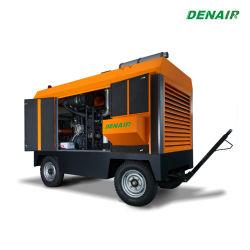 Compressore d'aria a vite rotativo portatile diesel guidato diretto iniettato olio ad alta pressione resistente industriale di Oilless Cummins Engine