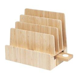 Лоток для бумаги для настольных ПК файлов в папке держателя 5 слотами, выдвижной ящик из бамбука; для хранения канцелярских принадлежностей и неподвижными предметами, ручек и карандашей,