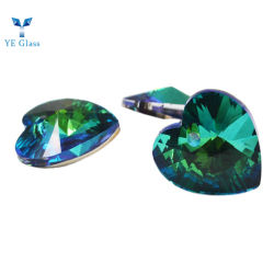 Brilhantes Cores multifacetada Colar Coração Pingentes de vidro cristal