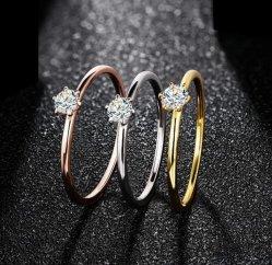 anello di oro bianco 18K per la prova delle donne 0.2CT oltre l'aggancio della fascia di cerimonia nuziale dell'anello del Solitaire del diamante di D Moissanite nuziale