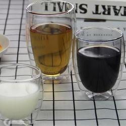 Double verre avec couvercle/gobelet en verre double couche pour amoureux/Cute Cup/High Boriosilicate Coupelle/coupelle haute résistance aux températures