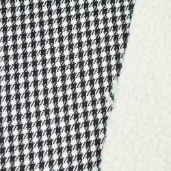 ポリエステルHoundstoothファブリックコートのための担保付きのベルベルの羊毛