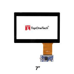 SKD CKD CBU 7 pouce 16 : 9 1024*600 IPS TFT LCD affichage du moniteur d'optique Réponse précise collé sur écran tactile du panneau de capteur tactile capacitif avec le verre trempé