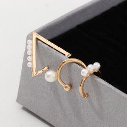 Geometria simples de jóias de ouro Círculo Triângulo Clipe para orelha clipes de brincos Vintage Pearl liga conjunto brincos sem clipe para orelha furada Mujer