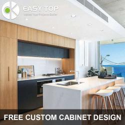 Плоские апартаменты оформлены в современном стиле фанера ПВХ Завернутые Vinylquartz камня дерева Cabinetry зернового кухня современная кухня кабинет