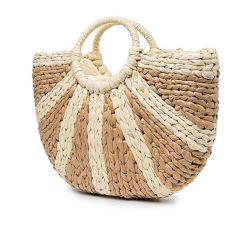 Handmade sac fourre-tout de paille Femmes sac à main haut de la poignée de déplacement de grande capacité