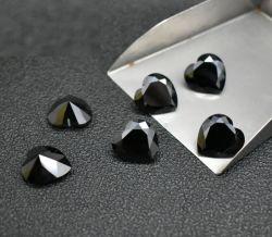 Negro suelto Colgante en forma de corazón grande piedra de zirconio cúbico para Collar de piedras preciosas